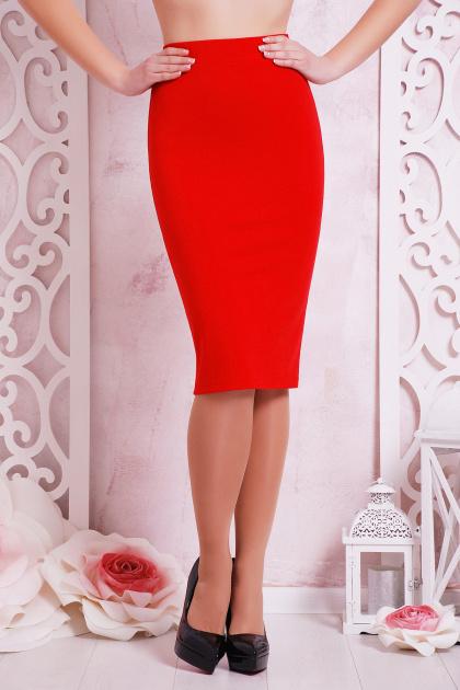 темно-синяя офисная юбка-карандаш. юбка мод. №20. Цвет: красный