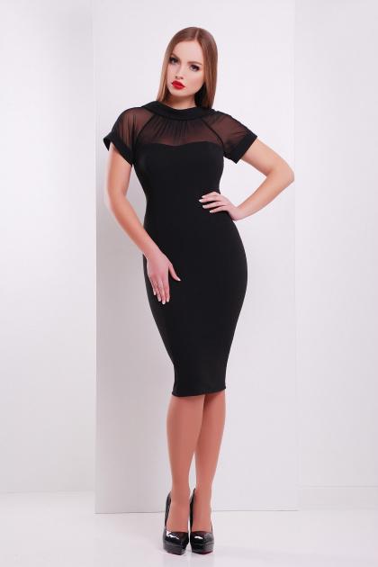 Платье по фигуре черного цвета с верхом из сетки. платье Алесандра к/р. Цвет: черный