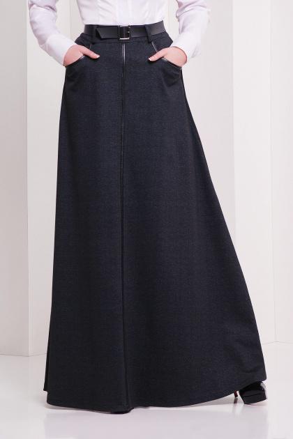 Длинная юбка черного цвета. юбка мод. №24. Цвет: черный меланж