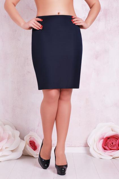 прямая юбка цвета электрик для полных женщин. юбка мод. №1 Б. Цвет: темно синий