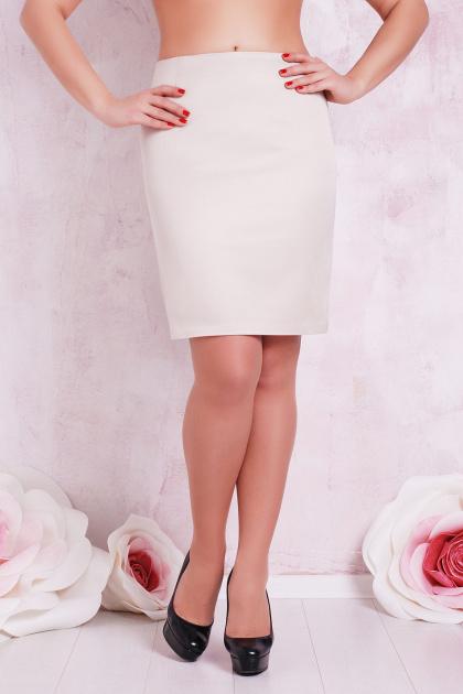 деловая светло-бежевая юбка для полных женщин. юбка мод. №1 Б. Цвет: св. бежевый