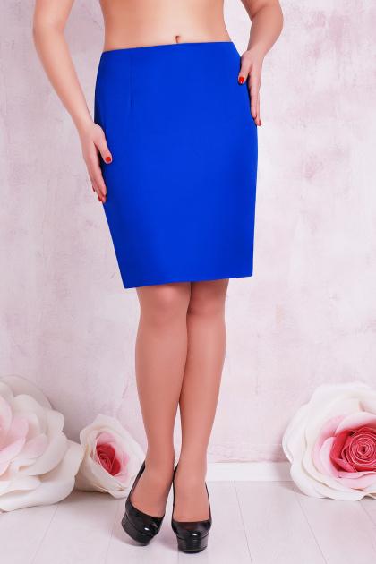 прямая юбка цвета электрик для полных женщин. юбка мод. №1 Б. Цвет: электрик