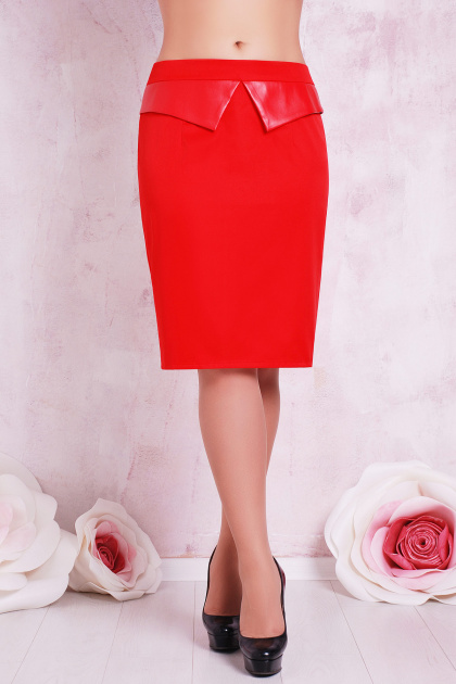 прямая бежевая юбка большого размера. юбка мод. №12 Б. Цвет: красный