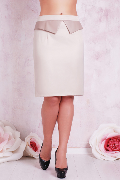 прямая бежевая юбка большого размера. юбка мод. №12 Б. Цвет: бежевый