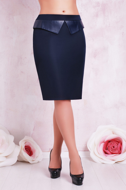 прямая бежевая юбка большого размера. юбка мод. №12 Б. Цвет: темно синий