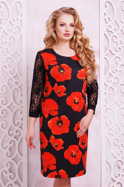 трикотажное платье батал с цветами. Маки платье Гардена-2Б д/р. Цвет: принт