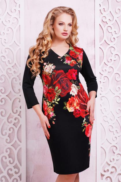 большое черное платье с цветочным принтом. Розы платье Калоя-2Б д/р. Цвет: принт