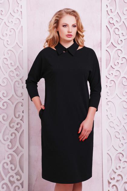 деловое черное платье большого размера. платье Элина-Б д/р. Цвет: черный