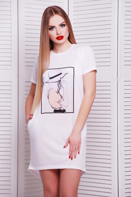 длинная женская футболка из вискозы. Шляпа футболка Фрак-2. Цвет: принт