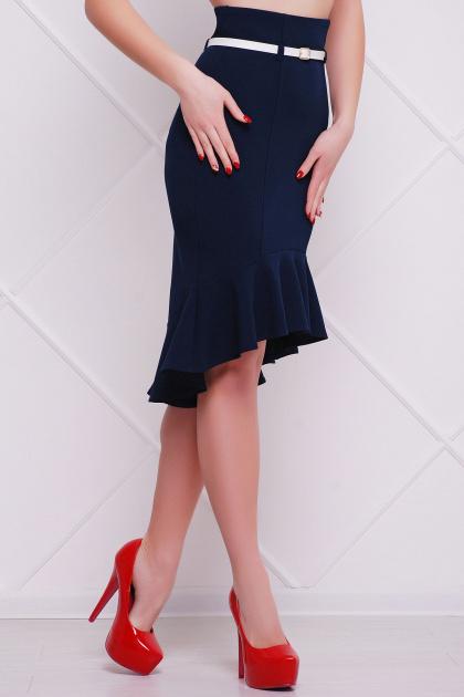 юбка светло-бежевого цвета с воланом внизу. юбка мод. №26. Цвет: темно синий
