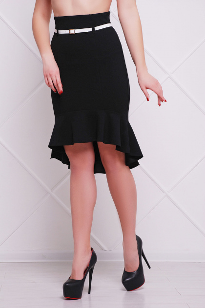 юбка светло-бежевого цвета с воланом внизу. юбка мод. №26. Цвет: черный