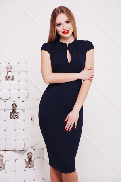 черное платье с воротником стойка. платье Цезара б/р. Цвет: темно синий