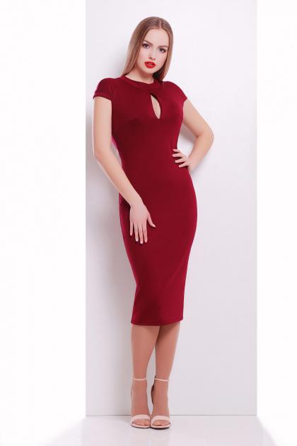 черное платье с воротником стойка. платье Цезара б/р. Цвет: бордовый