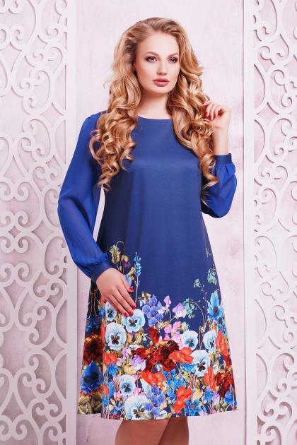 синее платье с цветами для полных. Индиго букет Платье Тана-3Б КД д/р. Цвет: принт