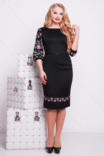 нарядное платье с цветами для полных. Цветы-орнамент платье Андора-Б д/р. Цвет: черный