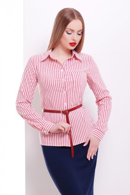 рубашка в полоску для работы. блуза Рубьера д/р. Цвет: белый-красная полоска