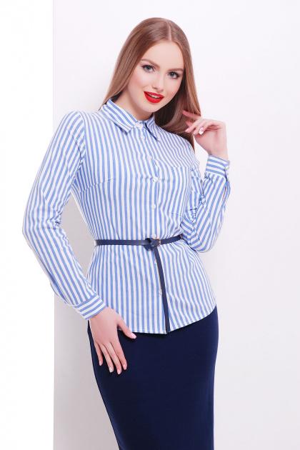 рубашка в полоску для работы. блуза Рубьера д/р. Цвет: белый-голубая полоска
