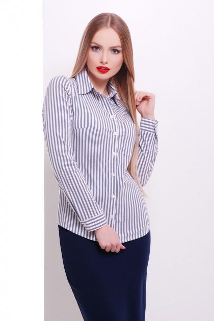 рубашка в полоску для работы. блуза Рубьера д/р. Цвет: белый-черная полоска