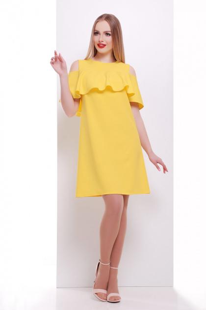 мятное платье с воланом на плечах. платье Ольбия б/р. Цвет: желтый