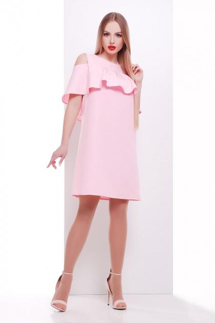 мятное платье с воланом на плечах. платье Ольбия б/р. Цвет: розовый