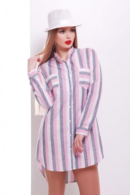 длинная полосатая рубашка. рубашка Саронта д/р. Цвет: розовый-черная полоска