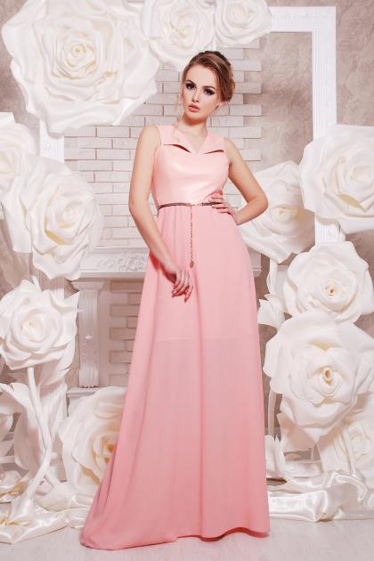 красивое персиковое платье в пол. платье Финикс б/р. Цвет: персик
