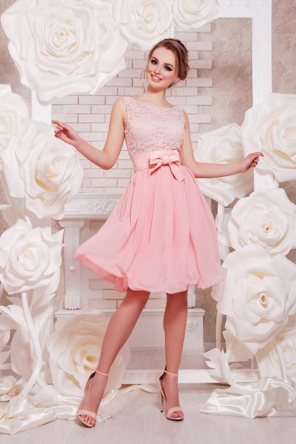 коктейльное мятное платье до колен. платье Настасья б/р. Цвет: персик
