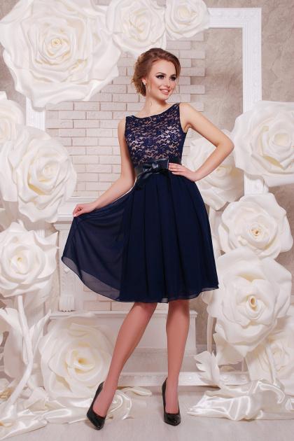 персиковое коктейльное платье без рукавов. платье Настасья б/р. Цвет: синий