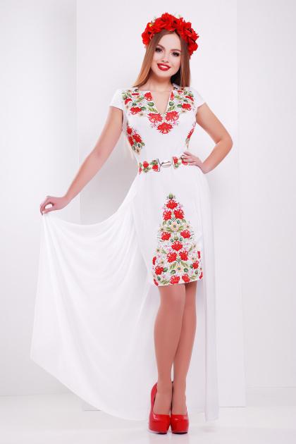 красивое белое платье с цветами. Фольклор платье Аркадия-КД б/р. Цвет: принт