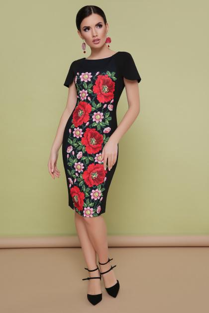черное платье с маками. Маки платье Питрэса-КД к/р. Цвет: черный