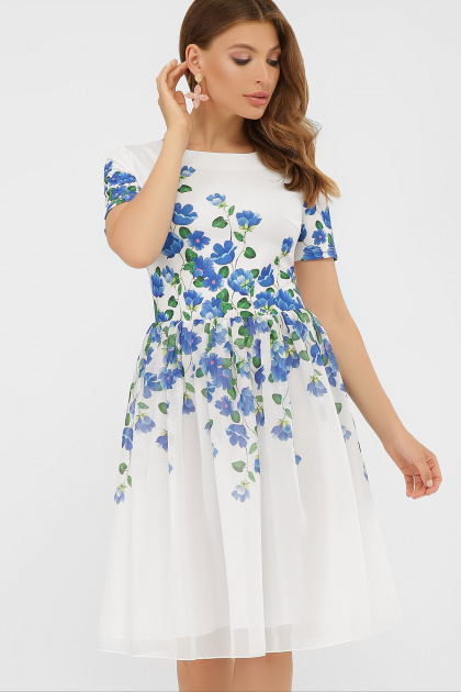 легкое белое платье с синими цветами. Синие цветы платье Мияна-КД к/р. Цвет: принт