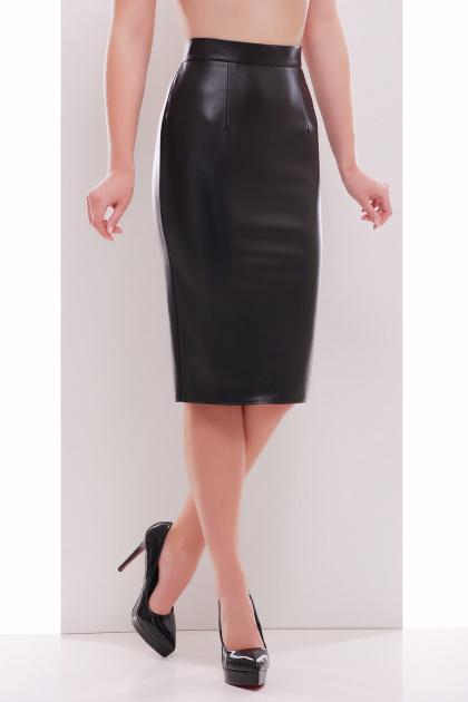 бежевая юбка из экокожи. юбка мод. №29 (кожа). Цвет: черный