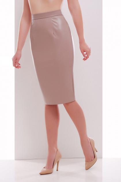 бежевая юбка из экокожи. юбка мод. №29 (кожа). Цвет: бежевый