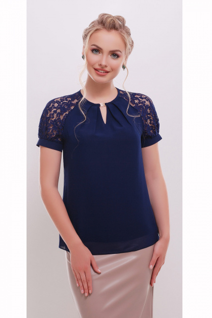 белая шифоновая блузка. блуза Ильва к/р. Цвет: темно синий