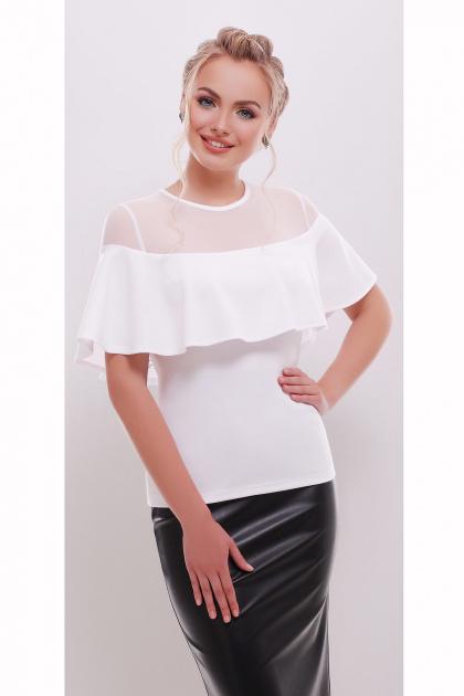 белая летняя блузка с воланом. блуза Сонья б/р. Цвет: белый