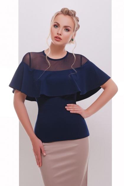 белая летняя блузка с воланом. блуза Сонья б/р. Цвет: темно синий