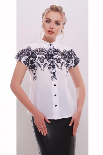 белая женская блузка с принтом. Узор черный блуза Элина б/р. Цвет: принт