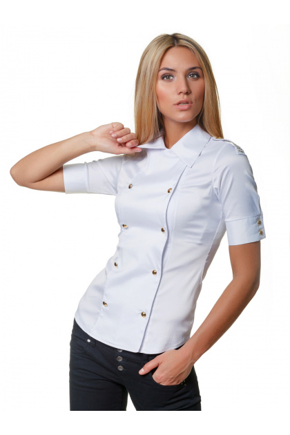 Зеленая блузка классического кроя с коротким рукавом. блуза Эстель к/р. Цвет: белый
