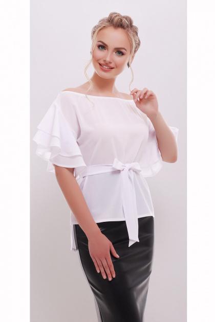 белая блузка с открытыми плечами. блуза Бьянка к/р. Цвет: белый