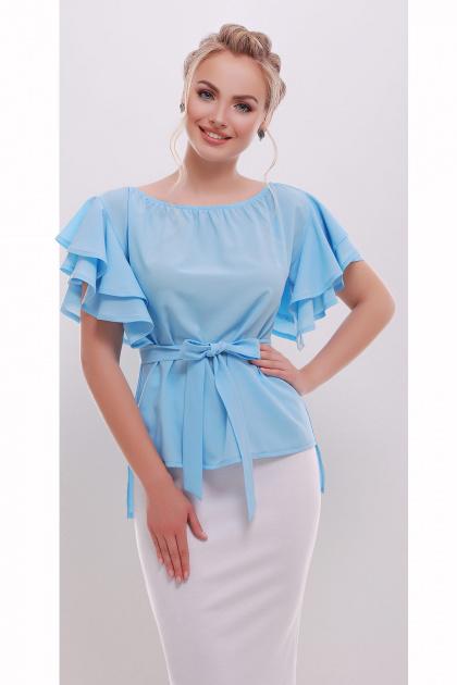 белая блузка с открытыми плечами. блуза Бьянка к/р. Цвет: голубой