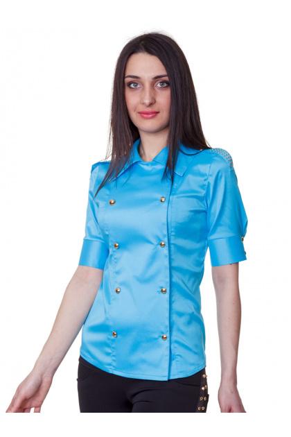 Красная блузка классического кроя с коротким рукавом. блуза Эстель к/р. Цвет: голубой