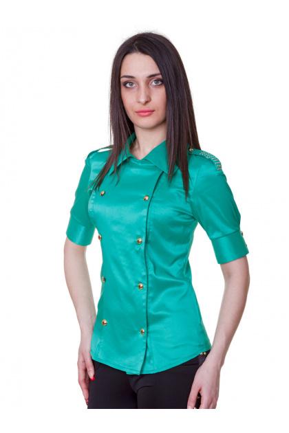 Зеленая блузка классического кроя с коротким рукавом. блуза Эстель к/р. Цвет: зеленый