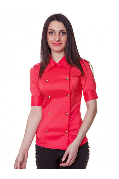 Красная блузка классического кроя с коротким рукавом. блуза Эстель к/р. Цвет: коралл