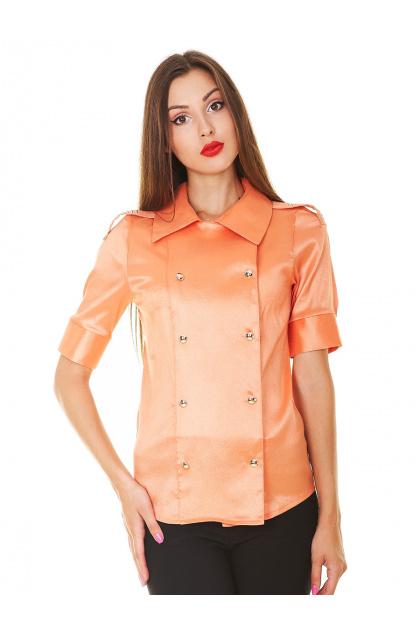 Красная блузка классического кроя с коротким рукавом. блуза Эстель к/р. Цвет: оранжевый