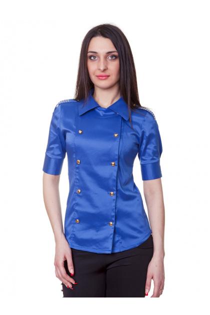 Красная блузка классического кроя с коротким рукавом. блуза Эстель к/р. Цвет: синий