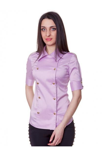 Красная блузка классического кроя с коротким рукавом. блуза Эстель к/р. Цвет: сиреневый