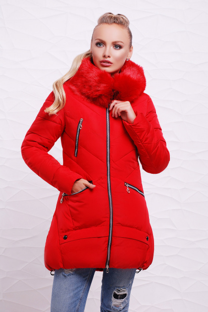 теплая бежевая куртка. Куртка 888. Цвет: красный