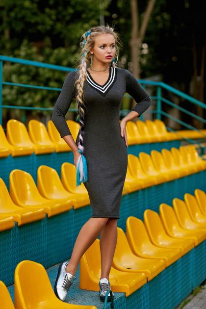 темно-серое платье спортивного стиля. платье Макси д/р. Цвет: темно серый