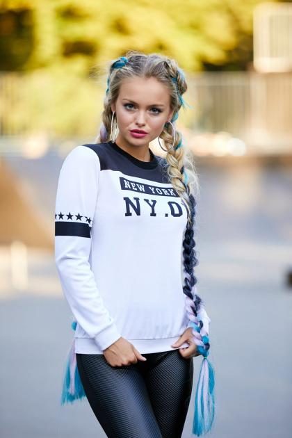 модный трикотажный свитшот. New York черный кофта Свитшот №1Ф (весна) д/р. Цвет: принт