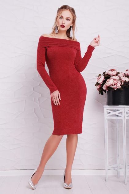 теплое сиреневое платье. платье Гвинея д/р. Цвет: бордовый